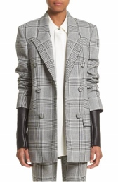 alexander wang leather sleeve check blazer