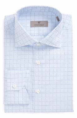 canali blue check dress shirt for men