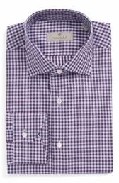 canali purple check dress shirt