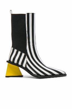 striped leather a-heel boots