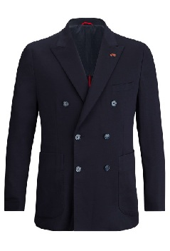 utility inspired navy blue double breasted blazer