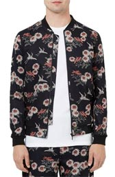 topman co-ord collection floral print bomber jacket