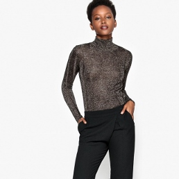 metallic fine knit jumper