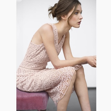 guipure pink lace flared dress