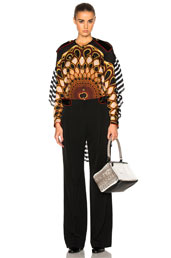 givenchy georgette top with velvet epaulets