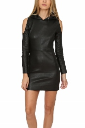 rta cold shoulder leather dress