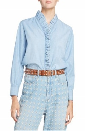isabel marant lawendy ruffle chambray top