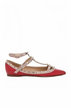 valentino rockstud double ankle ballet flat